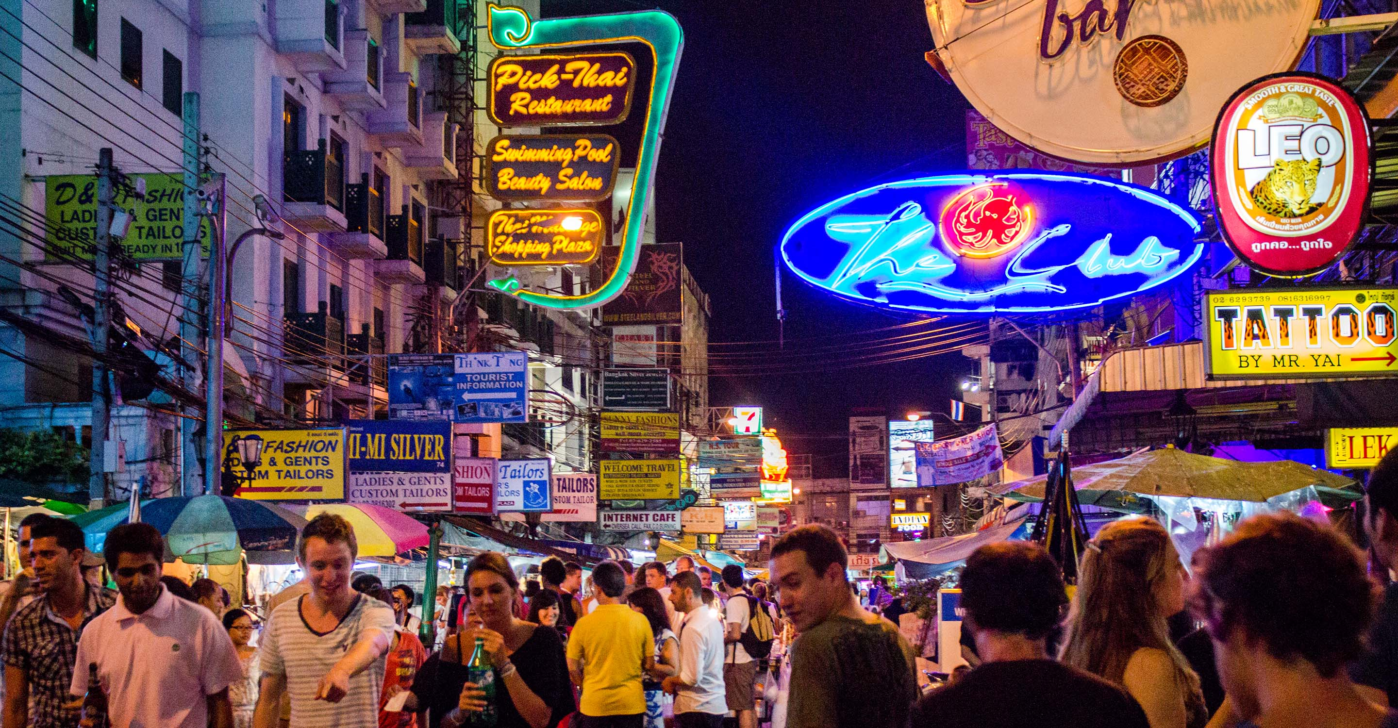vibrant khao san road at night
